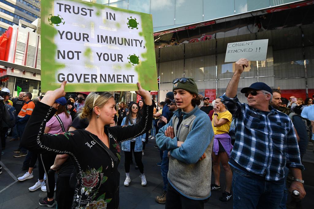 הפגנה ב מלבורן אוסטרליה נגד ה סגר קורונה