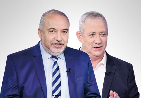 מימין: שר הביטחון בני גנץ ושר האוצר אביגדור ליברמן, צילום: קובי קואנקס