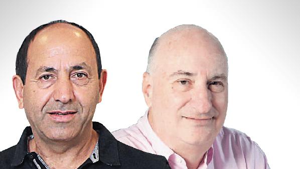 """מימין: נתן חץ בעל השליטה בחברת אמות ורמי לוי, בעלי רמי לוי נדל""""ן, צילום: עמית שעל"""