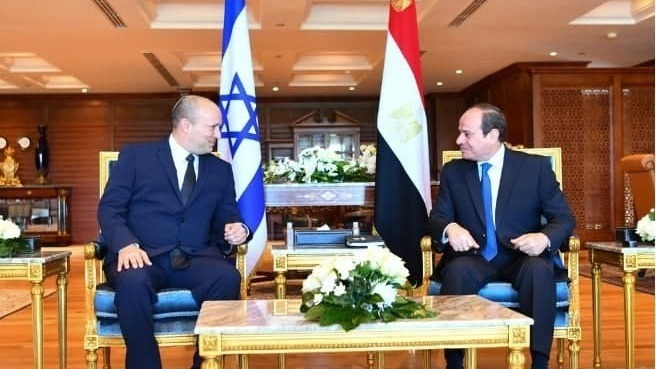 נשיא מצרים עבד אל-פתאח א-סיסי עם פתלי בנט בשארם א-שייח,
