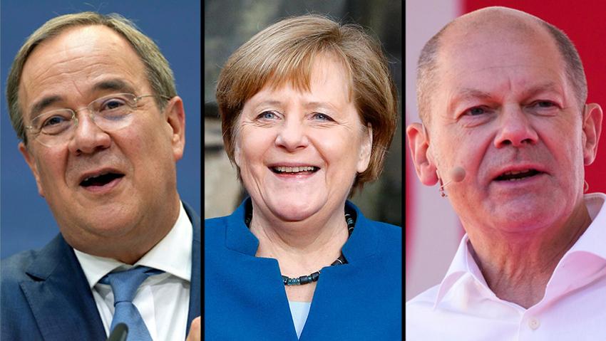 מימין לשמאל: מנהיג ה-SPD שולץ, הקנצלרית הפורשת מרקל ומועמד ה-CDU ארמין לאשט