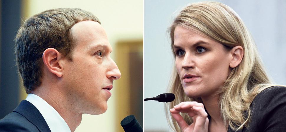 מימין העובדת לשעבר פרנסס הוגן ומייסד פייסבוק מארק צוקרברג