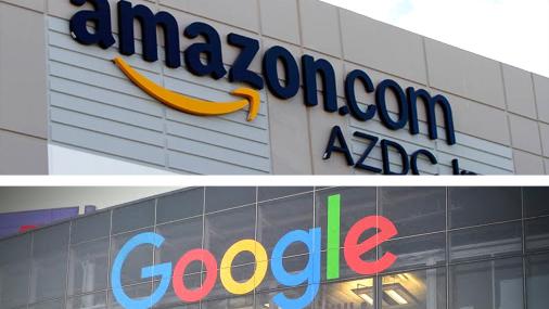 גוגל אמזון לוגו,  צילום: בלומברג, גוגל