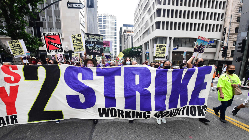 שביתה של עובדי ניקיון ב לוס אנג'לס, צילום: איי אף פי