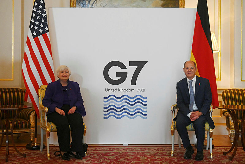 U.S Treasury Secretary Janet Yellen (Left) and German Finance Minister Olaf Scholz at the G7 Summit  Photo: Getty